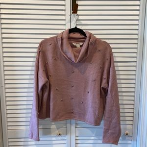 Anthro pink nude blush knit cowl neck dotted top l